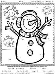 Snowflake Solutions Math Printables Color By The Code Puzzles For Winter To Practice ADDITION