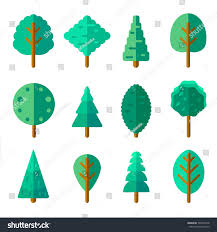 Christmas Tree Species For by Set Trees Trendy Flat Style Green Stock Vector 540074128