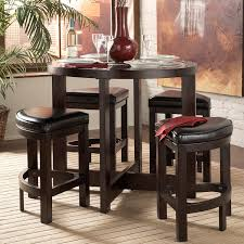 5 Pieces Pub Style Dining Sets Design With Round Wooden ...