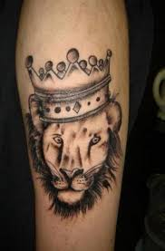 Crown Tattoo With A Lion