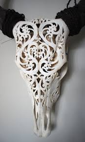 Decorated Cow Skulls Pinterest by Carved Skull Beautiful Buffalo Has Intricate Roccoco Inspiration