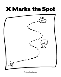 X Marks The Spot Coloring Page From TwistyNoodle