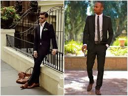 Men Black Suit Brown Shoes