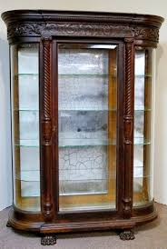 Curved Glass Curio Cabinet by Bid In Online Auctions Liveauctioneers