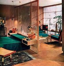 Midcentury Modern Retro Interior Design Deco Architecture Room Screen Divider The Colors Reflect A Natural Looking With Green Leafy Colored Sheets