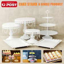 New 6 Pieces Set White Gold Crystal Cake Stand Cupcake Wedding Dessert Bar Party