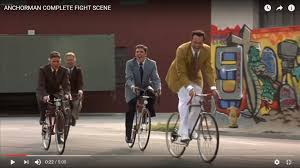 right before the fight scene in anchorman you can see gang