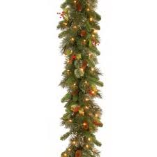 9 Foot Wintry Pine Garland With Cones Red Berries Snowflakes And 100 Clear