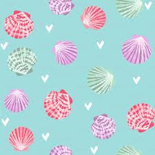 100 Sea Shell Design Seashells Fabric Girls Mermaid Sea Shell Design Pink On Blue
