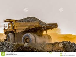 100 Rock Trucks Large Mining Dump Transporting Platinum Ore For