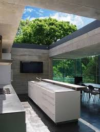 KitchensUltra Modern Outdoor Kitchen With White Island And Solid Wall Creates A