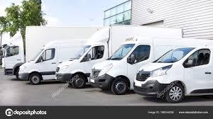 100 Vans Trucks Several Cars Parked Parking Lot Rent Delivery Stock