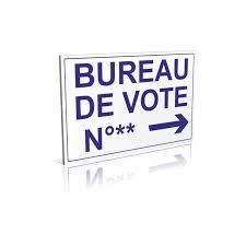 bureau de vote panneau bureau de vote numéro flèche à droite signalétique pour