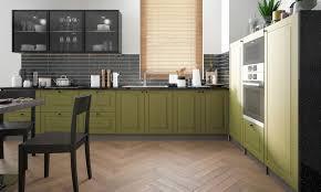 l form küchenzeile rimini einbauküche 340x180cm lava fronten farngrün matt lackiert