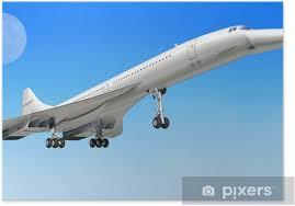 poster concorde überschall verkehrsflugzeug flugzeug beim start oder landi