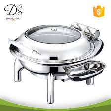 Round Roll Chafing Dish Electric Heater With Glass Window Lid