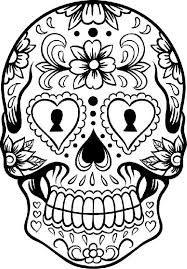 Sugar Skull And Mexican Flowers Coloring Pages