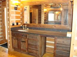 Vanities Panels With Single Rounded Undermount Sink Also Great Wide Mirrored As Well Lighting Wall Decors Decorate In Rustic Bathrooms Designs