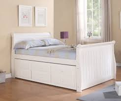 Sleigh Full Size Captains Trundle Bed White
