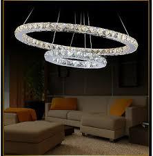led kristall pendelleuchte 2 ring 75 x 55cm luxus kristall