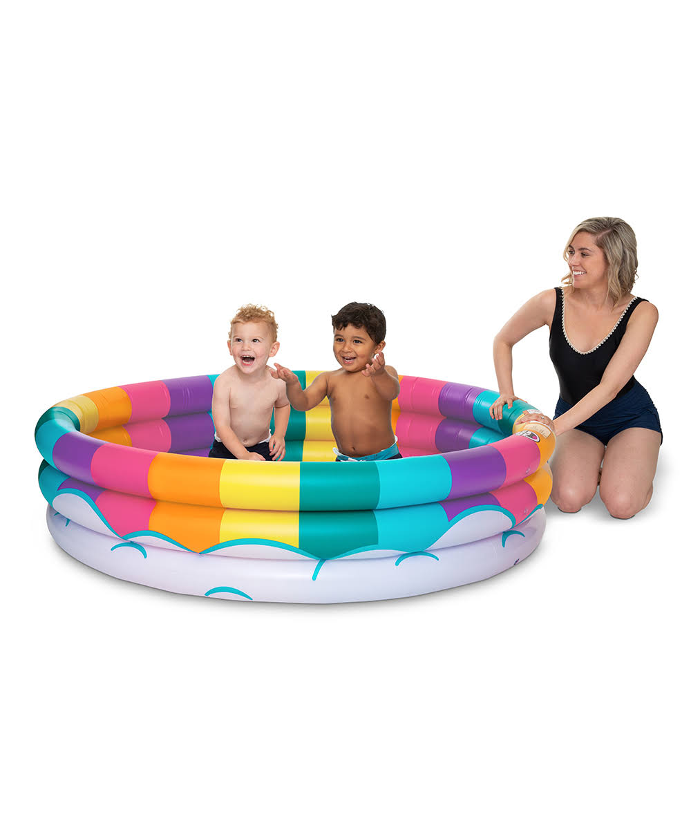 Bigmouth Inc. Inflatable Kiddie Pool, Durable Plastic Baby Pool (Rainbow)
