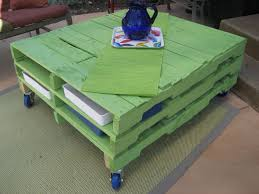 VIEW IN GALLERY Green Painted Pallet Coffee Table