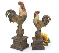 Set Of 2 Tall French Country Rooster Figurines Statues Decorative Roosters By Sunrise Calling Tuscan KitchensFrench