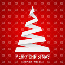 White Christmas Tree In Origami Style On Red Background Vector Image