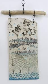 Plaque 4 Achillea Leaves By Shirley Vauvelle In Wall Hung Impressed Plaques Ceramics Using Earthenware And Driftwood