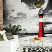 details zu tapete vlies fototapete für wohnzimmer landschaft maritim meer strand leuchtturm