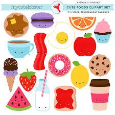 Cute Foods Clipart Set Clip Art Of Kawaii Food Egg