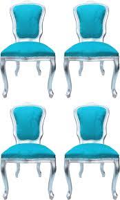 casa padrino luxus barock esszimmer set louis türkis silber 50 x 60 x h 104 cm 4 handgefertigte esszimmerstühle barock esszimmermöbel made in