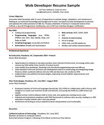 Web Developer Key Skills Section Job Resume