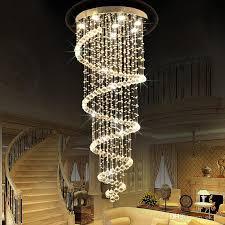 großhandel moderne led spiral lustre kristall deckenleuchten lange treppe licht für treppenhaus hotel foyer wohnzimmer kronleuchter le ok360