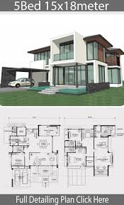 104 Contemporary House Design Plans Big Modern Floor Home Plan 15x18m With 5 Bedrooms Beautiful Bungalow