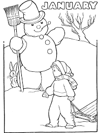 Printable Winter January Coloring Pages