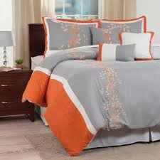 Lavish Home Branches 7 Piece Orange Embroidered Queen forter