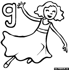 The Letter G Online Alphabet Coloring Page