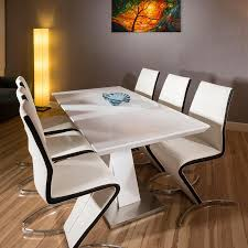 100 White Gloss Extending Dining Table And Chairs Set White Gloss Extending Table 6 Whiteblack Stripe