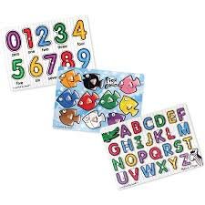 melissa doug classic wooden peg puzzles set of 3 numbers