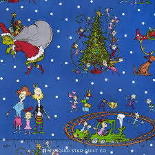 The Grinch Christmas Tree Star by How The Grinch Stole Christmas 6 Whoville Christmas Blue Yardage