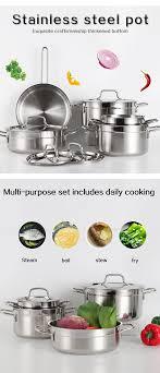 schöne hochwertige küchen topf kochgeschirr set edelstahl kochtopf kochgeschirr set edelstahl topf sets zum kochen buy hohe qualität küche topf