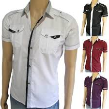 men u0027s slim fit shirt short sleeve fitted casual dress button up