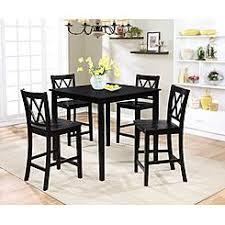 Essential Home Dahlia 5 Piece Square Table Dining Set Black
