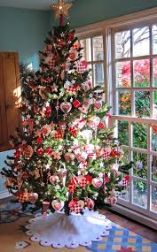 Christmas Tree With Golden And Red Accents View