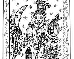 Octobers Coloring Book Hippie Halloween No Holes Single Sided