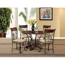 Acme United Omari Set Cherry Finish Bronze Metal 5pcs Dining Antique Look Round Table Chairs Cream Cushion Microfiber Seat