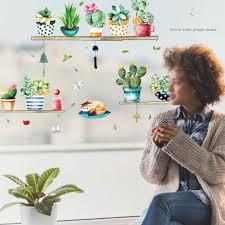 kaktus diy hintergrund wandaufkleber wohnzimmer schrank glas