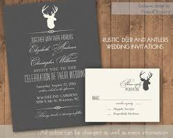 Rustic Wedding Invitations Deer And Antlers