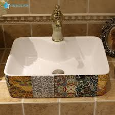 lt 1a8454 made in china badezimmer quadratische kunst keramik schrank top lavabo buy badezimmer top mount keramikspülen phantasie porzellan
